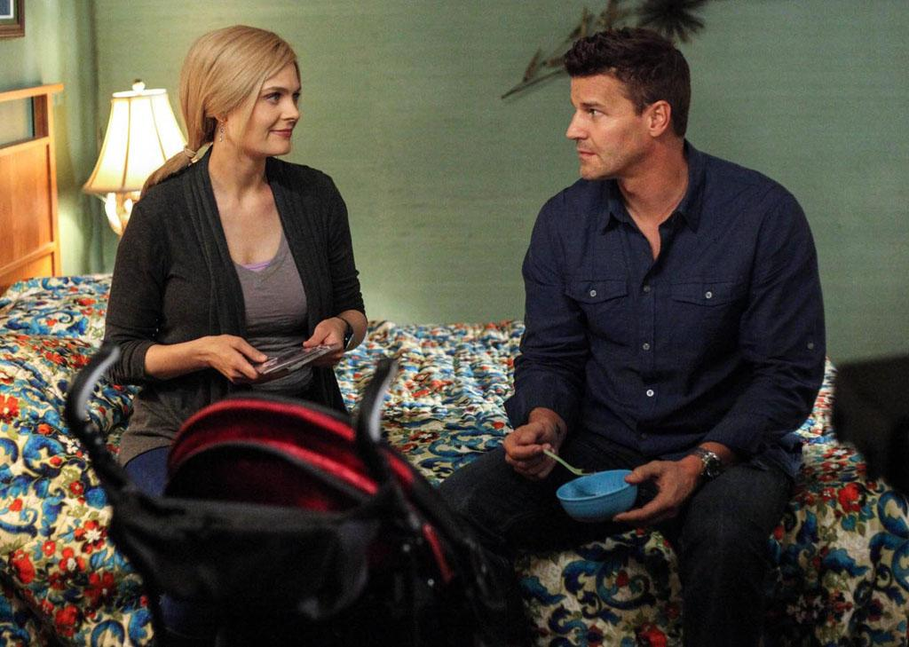 "Booth (David Boreanaz) meets up with Brennan (Emily Deschanel) while she is still on the run in ""The Future in the Past,"" the Season 8 premiere episode of ""Bones."""