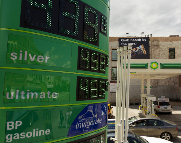 Gasoline prices are displayed at a gasoline station, Friday, Aug. 10, 2012, in Chicago. A rise in the price of crude oil and problems with refineries and pipelines in the West Coast and Midwest have caused prices at the pump to surge upward. (AP Photo/Sitthixay Ditthavong)