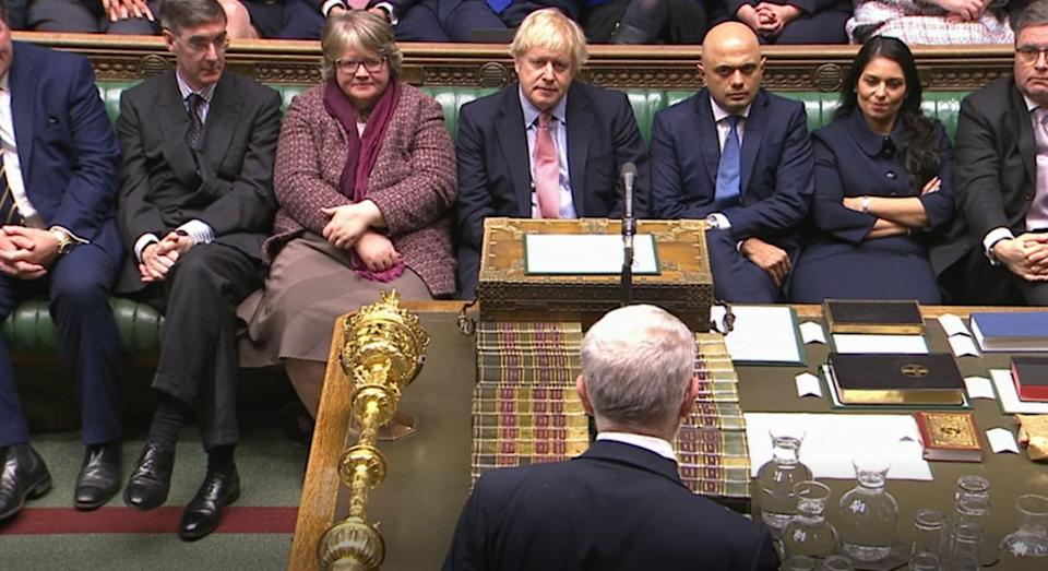Prime Minister Boris Johnson looks on as Leader of the Labour Party Jeremy Corbyn speaks in the House of Commons, London, after the Conservative Party gained an 80-seat majority in the General Election. (Photo by House of Commons/PA Images via Getty Images)
