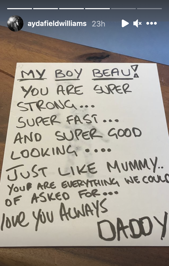 Ayda Field shared a message Robbie Williams had written for their son. (Instagram/Ayda Field)