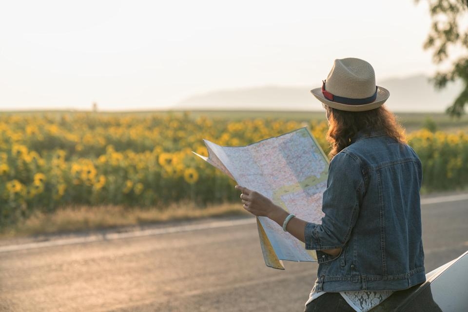 A woman with a map