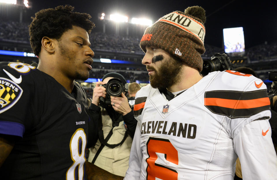 Will Lamar Jackson and Baker Mayfield play so well this season their teams have no choice but to pay them big money? It's a question facing both the Ravens and Browns. (Photo by: 2018 Nick Cammett/Diamond Images/Getty Images)