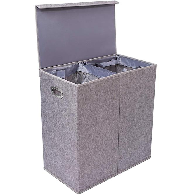 BirdRock Home Premium Double Laundry Hamper with Lid and Removable Liners