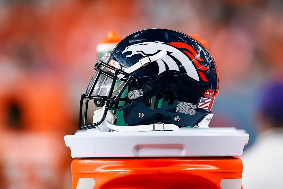 Aug 29, 2019; Denver, CO, USA; A detail view of a Denver Broncos helmet on the sidelines in the fourth quarter against the Arizona Cardinals at Broncos Stadium at Mile High. Mandatory Credit: Isaiah J. Downing-USA TODAY Sports