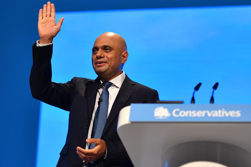 Britain's Chancellor of the Exchequer Sajid Javid delivers his keynote speech on the second day of the annual Conservative Party conference at the Manchester Central convention complex in Manchester, north-west England on September 30, 2019. - British Prime Minister Boris Johnson's office has denied allegations he made unwanted sexual advances towards two women 20 years ago. Journalist Charlotte Edwardes wrote in a column for The Sunday Times that Johnson put his hand on her thigh at a dinner party thrown by the magazine he was editing at the time. (Photo by Ben STANSALL / AFP) (Photo credit should read BEN STANSALL/AFP via Getty Images)