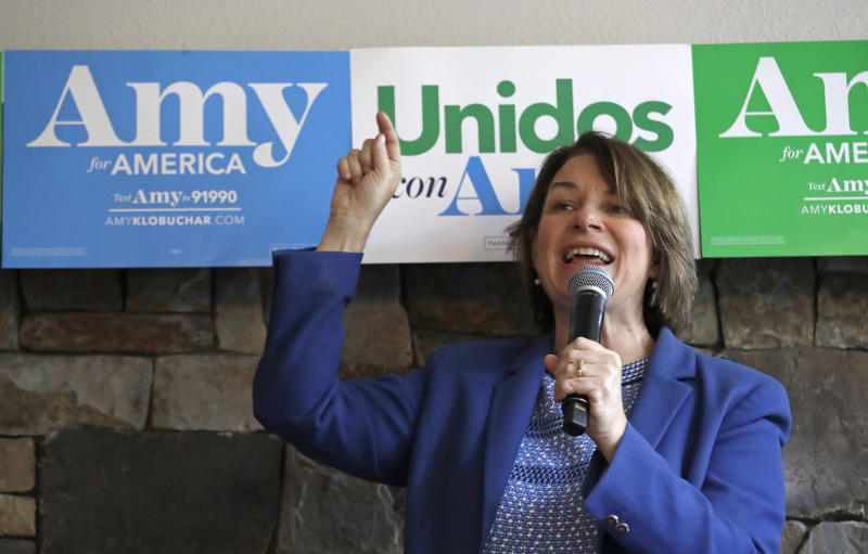 Democratic presidential candidate Sen. Amy Klobuchar, D-Minn., speaks to supporters inside a coffee shop during a campaign event Monday, Sept. 30, 2019, in Seattle. (AP Photo/Elaine Thompson)