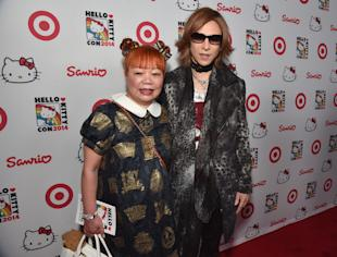 Yuko Yamaguchi and Yoshiki at Hello Kitty Con (photo: Alberto E. Rodriguez/Getty Images for Sanrio)