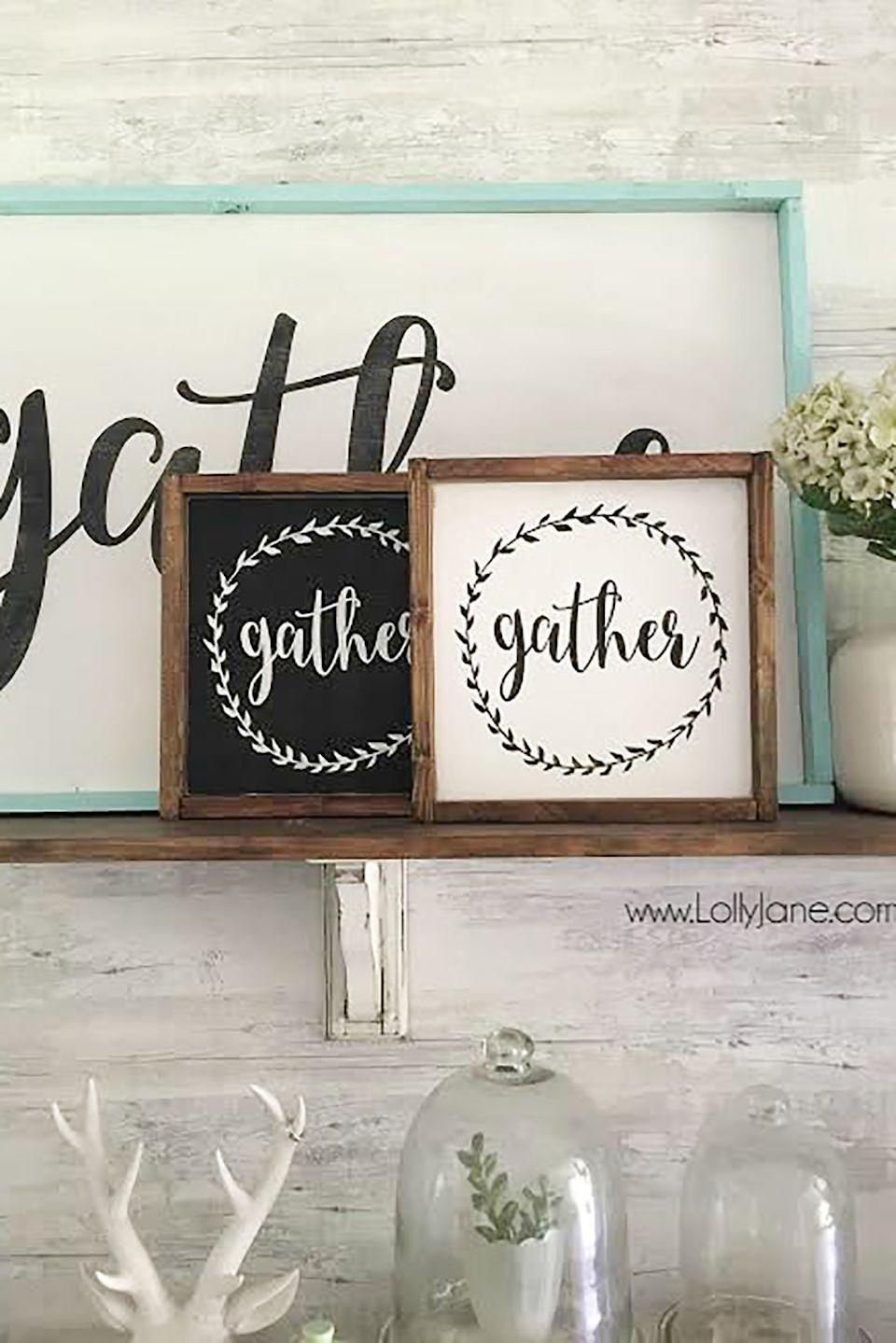 """<p>DIY your own Thanksgiving-themed art with a free printable.</p><p><strong>Get the tutorial at <a href=""""http://lollyjane.com/gather-mini-sign/"""" rel=""""nofollow noopener"""" target=""""_blank"""" data-ylk=""""slk:Lolly Jane"""" class=""""link rapid-noclick-resp"""">Lolly Jane</a>. </strong></p>"""
