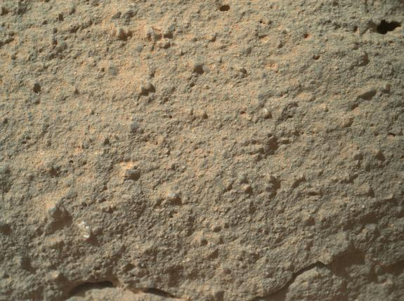 """This image shows the full photo from Mars rover Curiosity of a strange transparent feature on a rock, which some have nicknamed a """"flower."""" It appears at lower left. Image taken Dec. 19, 2012."""