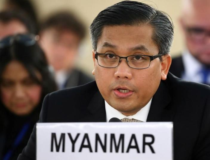 FILE PHOTO: Myanmar's ambassador Tun addresses the Human Rights Council at the United Nations in Geneva