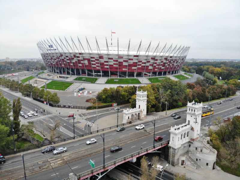 Drone pictures of the PGE National Stadium where the government builds special filed hospital for the coronavirus disease (COVID-19) in Warsaw