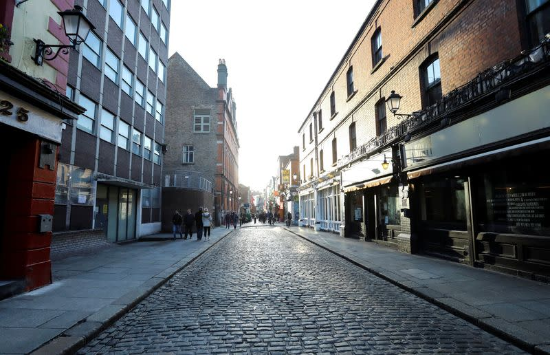 Deserted Streets are pictured as a result of the Pubs being closed in the Temple Bar area, as bars across Ireland are to close voluntarily to curb the spread of coronavirus in Dublin