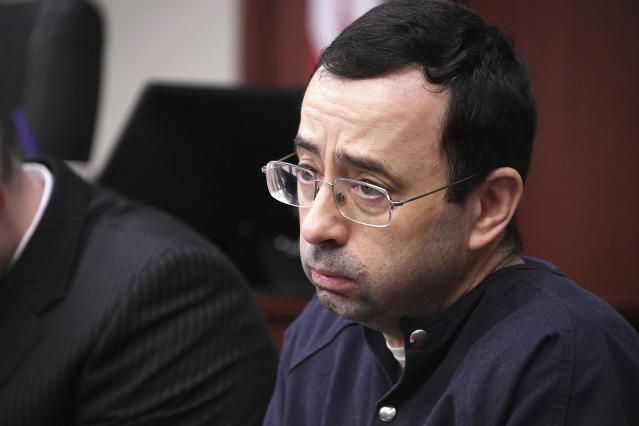 Larry Nassar looks at the gallery in the court during the sixth day of his sentencing hearing Tuesday, Jan. 23, 2018, in Lansing, Mich. Nassar has admitted sexually assaulting athletes when he was employed by Michigan State University and USA Gymnastics, which is the sport's national governing organization and trains Olympians. (AP)