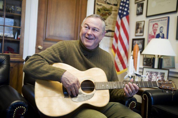 Rohrabacher sings a song he wrote entitled