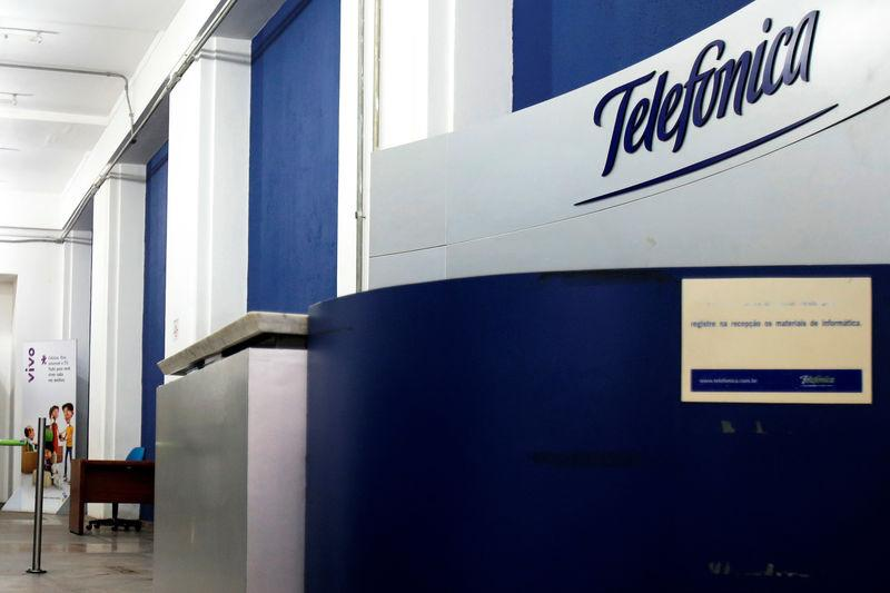 A logo at the Brazilian mobile operator Telefonica office, that is no longer in operation, is seen in Sao Paulo