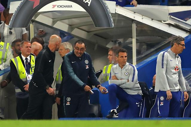 Referee Kevin Friend sends Maurizio Sarri manager of Chelsea off during the Premier League match between Chelsea and Burnley