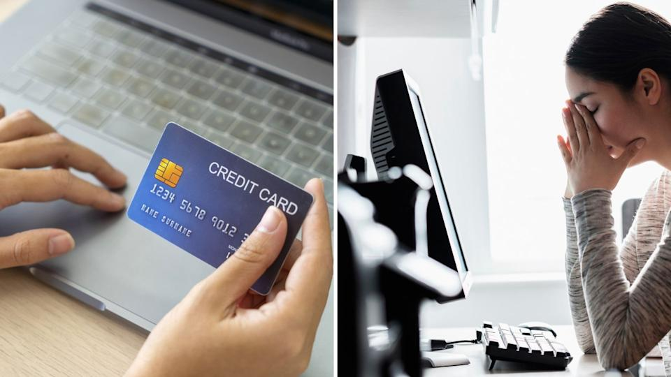 Person put credit card details into computer, woman with head in hands stares at computer in regret.