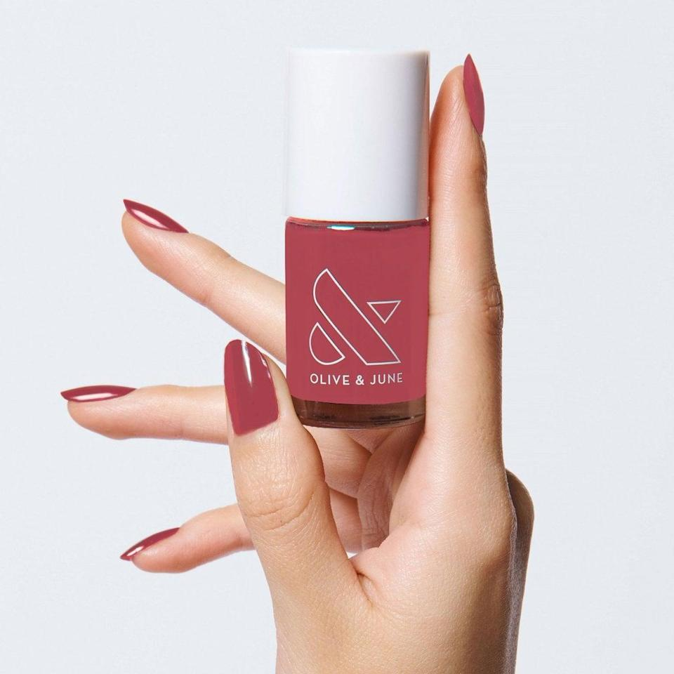 <p>The <span>Olive & June LD Polish</span> ($8) is a sort of raspberry color that might just be my go-to fall pink.</p>
