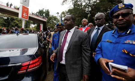 The Cabinet Secretary for Internal Security Fred Matiang'i leaves the attack scene in Nairobi, Kenya January 16, 2019. REUTERS/Thomas Mukoya