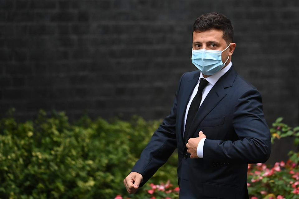 President of Ukraine Volodymyr Zelensky wears a facemask as he arrives to meet with Britain's Prime Minister Boris Johnson at number 10 Downing Street, in central London on October 8, 2020. (Photo by DANIEL LEAL-OLIVAS / AFP) (Photo by DANIEL LEAL-OLIVAS/AFP via Getty Images)