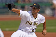 Pittsburgh Pirates starting pitcher Tyler Anderson delivers during the first inning of a baseball game against the Chicago Cubs in Pittsburgh, Thursday, April 8, 2021. (AP Photo/Gene J. Puskar)
