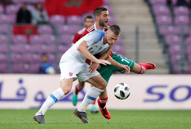 Soccer Football - International Friendly - Morocco vs Slovakia - Stade de Geneve, Geneva, Switzerland - June 4, 2018 Slovakia's Milan Skriniar in action with Morocco's Hakim Ziyech REUTERS/Denis Balibouse