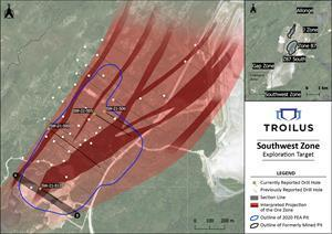 Plan View Map of Southwest Zone with Location of New Drill Results