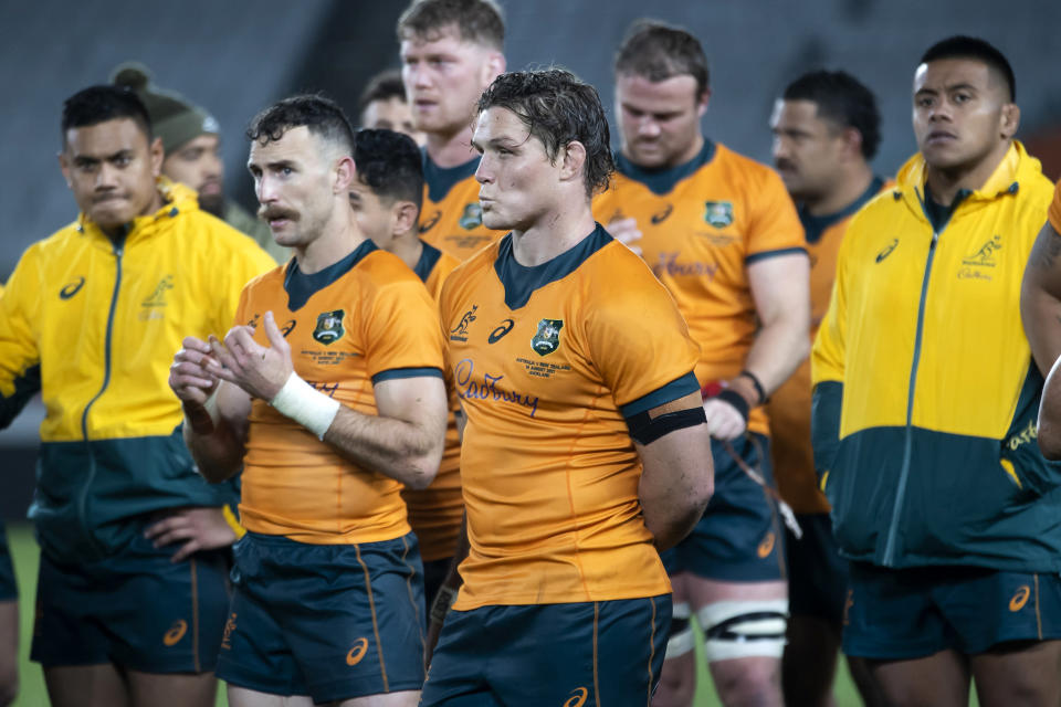 Australia's captain Michael Hooper reacts following the second Bledisloe Cup rugby test between New Zealand and Australia at Eden Park in Auckland, New Zealand, Saturday, Aug. 14, 2021. (Brett Phibbs/Photosport via AP)