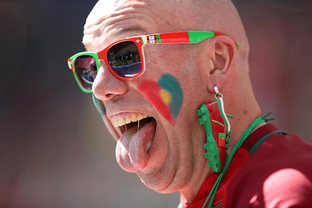 Soccer Football - World Cup - Group B - Portugal vs Morocco - Luzhniki Stadium, Moscow, Russia - June 20, 2018 Portugal fan inside the stadium before the match REUTERS/Carl Recine