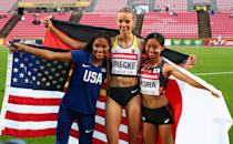 <p>Tara Davis of The USA, Lea-Jasmin Riecke of Germany and Ayaka Kora of Japan celebrate after winning medals in the final of the women's long jump on day four of The IAAF World U20 Championships on July 13, 2018 in Tampere, Finland. (Photo by Charlie Crowhurst/Getty Images for IAAF)</p>