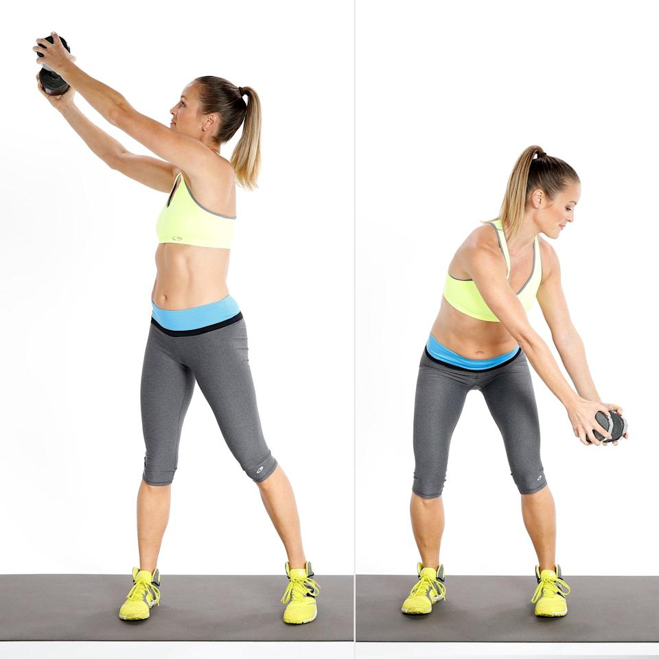 """<p>High-to-low woodchop is a rotation movement, so it engages your core by forcing it to resist the side-to-side motion, said <a href=""""https://radicalstrength.ca/"""" class=""""link rapid-noclick-resp"""" rel=""""nofollow noopener"""" target=""""_blank"""" data-ylk=""""slk:Rachel McPherson"""">Rachel McPherson</a>, ACE-certified personal trainer. """"This helps strengthen and stiffen the side body and core."""" Keep this move steady and controlled and avoid using momentum to swing the weight.</p> <ul> <li>With feet slightly wider than hip-distance apart, twist upward to the right, bringing the dumbbell above your head.</li> <li>Exhale and slice the weight diagonally across your body, ending twisted to the left with the dumbbell outside your left thigh. Pivot on your right foot as needed and focus on the rotation initiating in your torso.</li> <li>Control the weight back up to the starting position to complete one rep.</li> </ul>"""