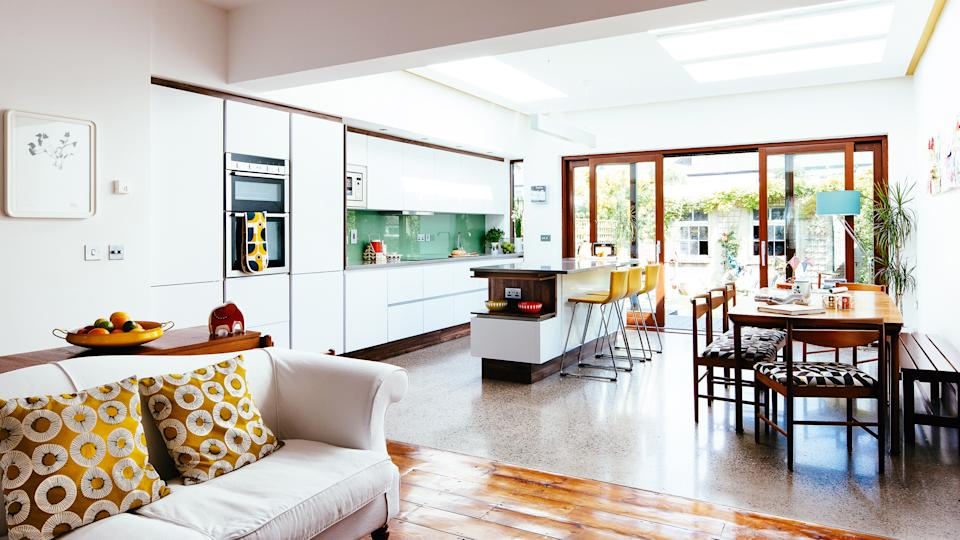 a bright and light-filled kitchen extension with kitchen island