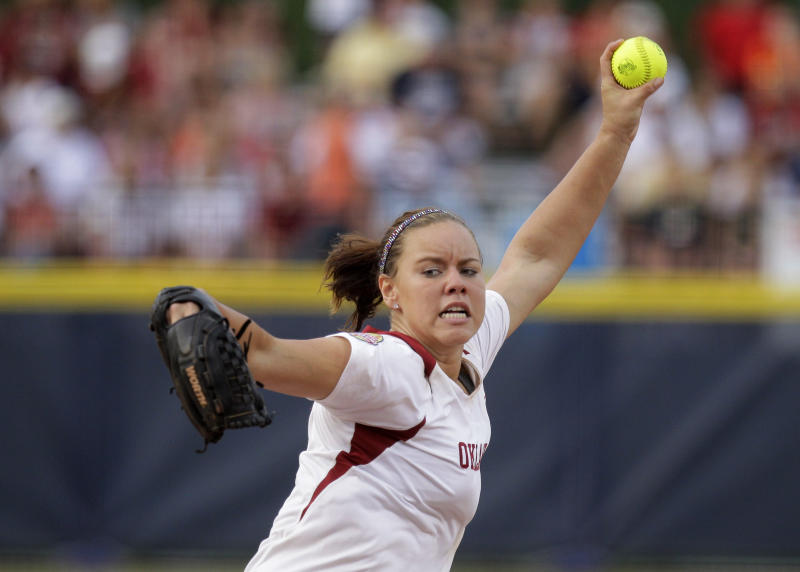 Oklahoma's Keilani Ricketts pitches against Alabama in the third inning of the second game of the NCAA Women's College World Series softball finals in Oklahoma City, Tuesday, June 5, 2012. (AP Photo/Sue Ogrocki)