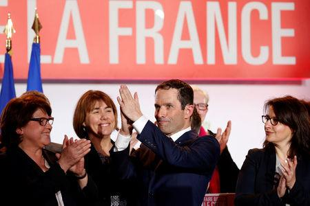 Benoit Hamon French Socialist party 2017 presidential candidate, flanked by Martine Aubry, mayor of Lille and Cecile Duflot wave at the end of a campaign rally in Lille
