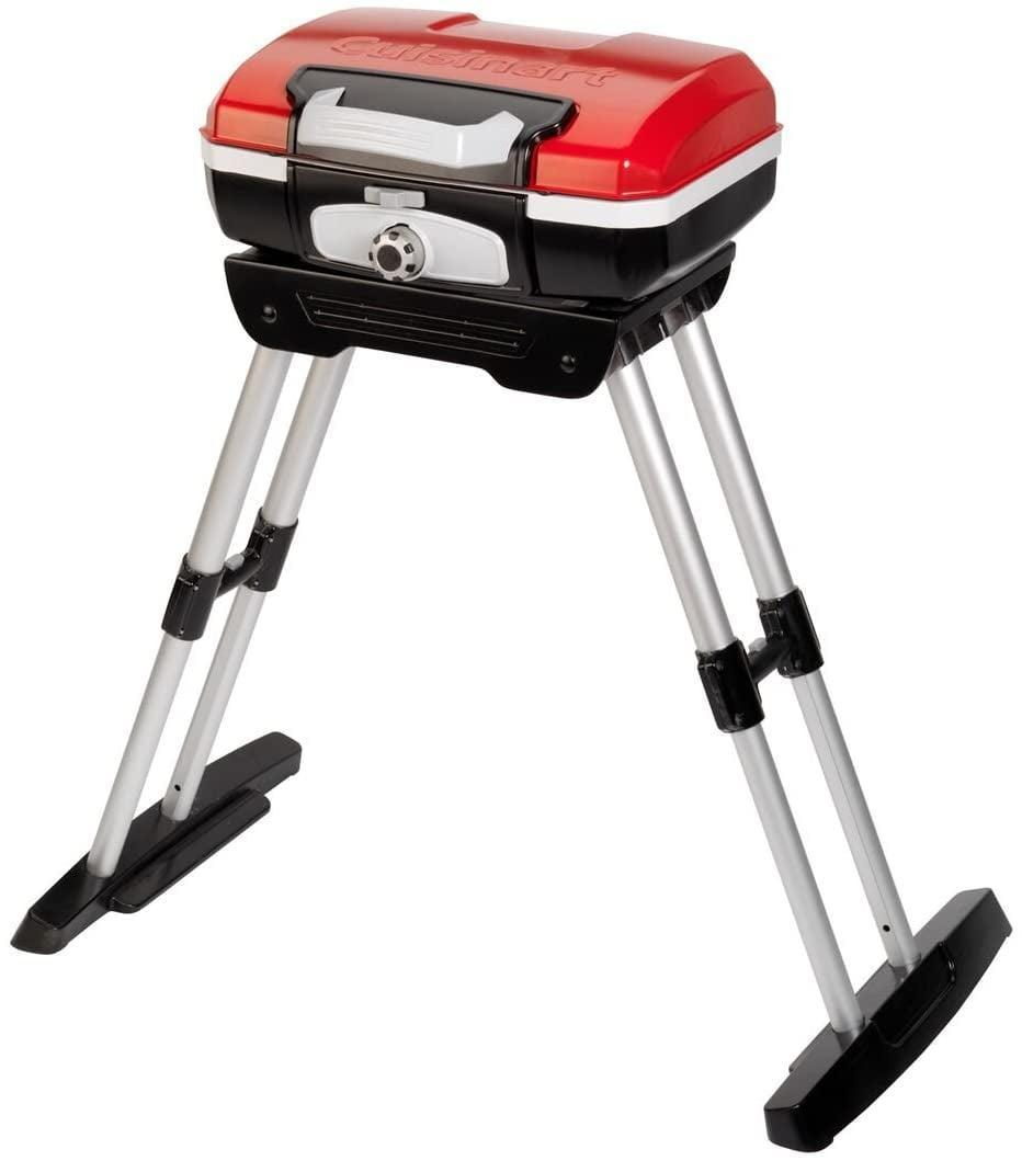 <p>The <span>Cuisinart CGG180 CGG-180 Petit Gourmet Gas Grill with VersaStand/a&gt; ($132, originally $180) is compact to take anywhere, it only weighs 17 pounds. It folds into a briefcase-style carrying case. The VersaStand is removable so you can use this grill on table tops or with the stand. The grill uses propane gas and has a twist to start electric ignition. It can hold food for 4-6 people at one time.</span></p>