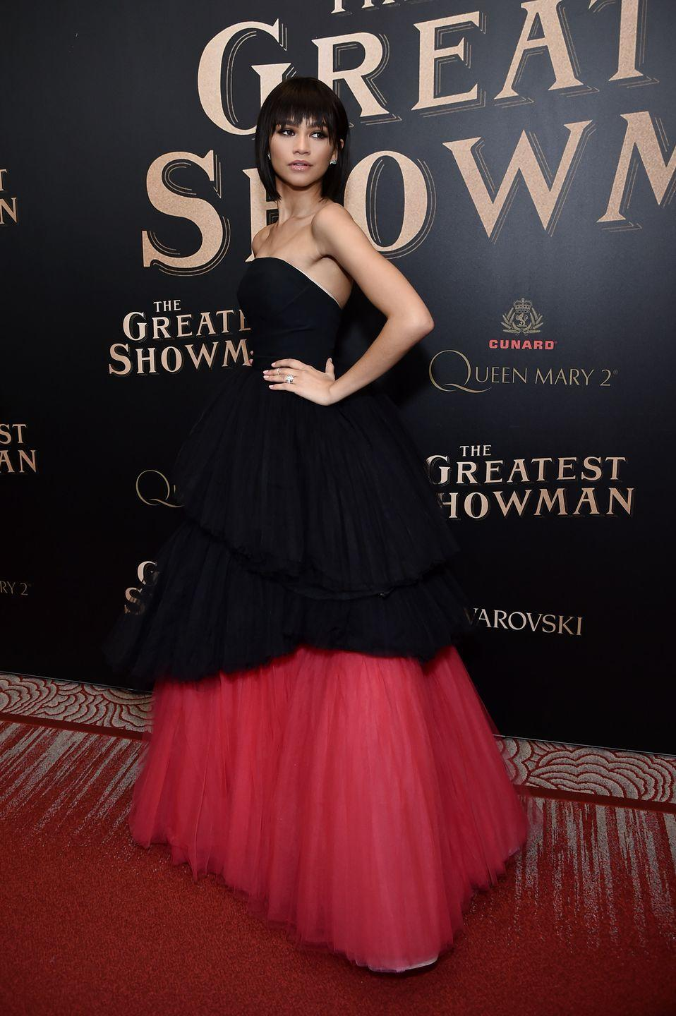 """<p>Zendaya wore Viktor & Rolf<span class=""""redactor-invisible-space""""> at 'The Greatest Showman In The World', in Brooklyn, December 2017.</span></p>"""