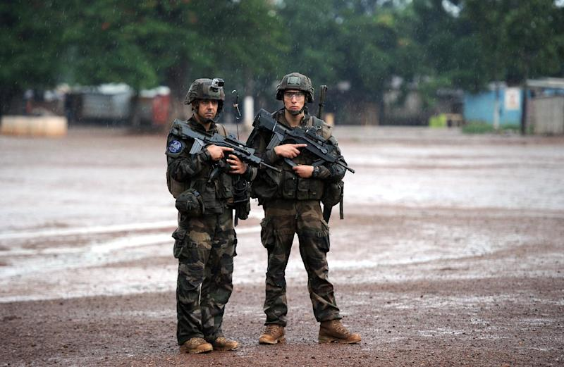 French soldiers patrol in the Fatima area of Bangui on July 8, 2014