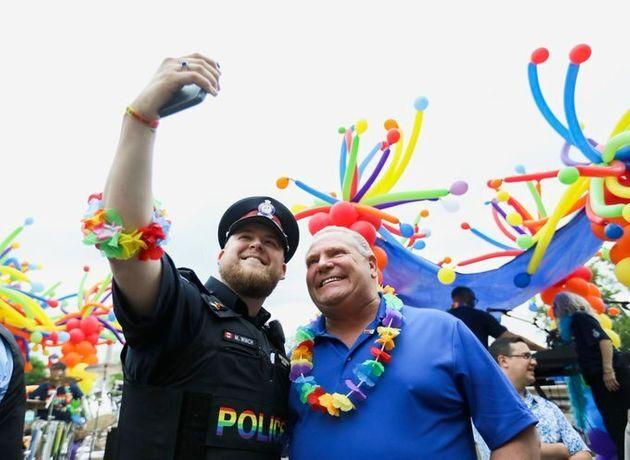 Premier Doug Ford attends the York Region Pride parade in Newmarket, Ont. on June 15, 2019.