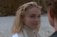 <p>We'll raise you your middle part and give you Sharon Stone's no part in <em>Basic Instinct.</em> Her short messy 'do paired with an oatmeal turtleneck for the beach was particularly memorable.</p>