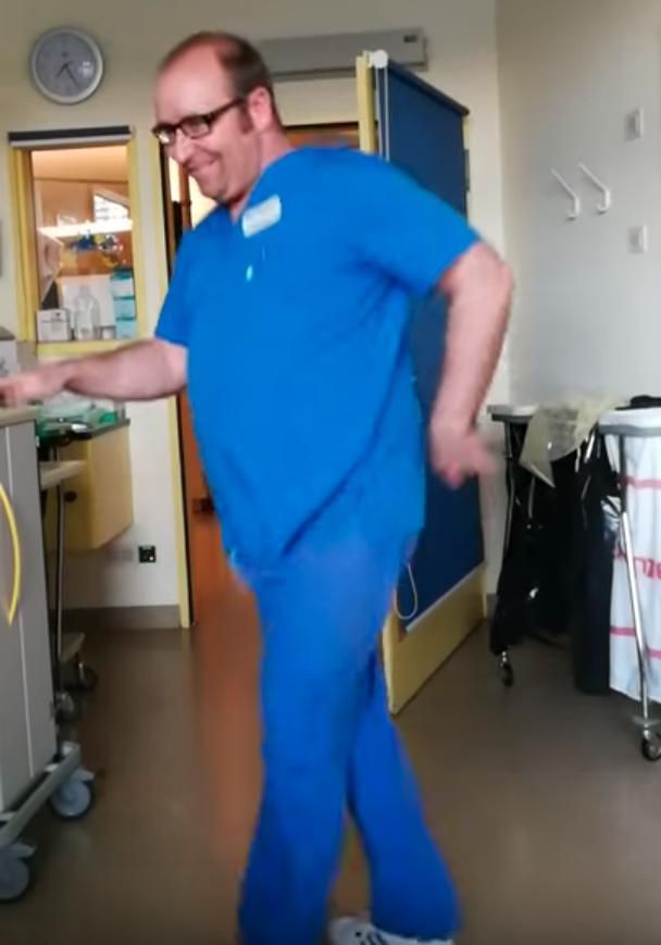 Gerrit's doctor promised to dance once he was feeling better. Photo: Youtube