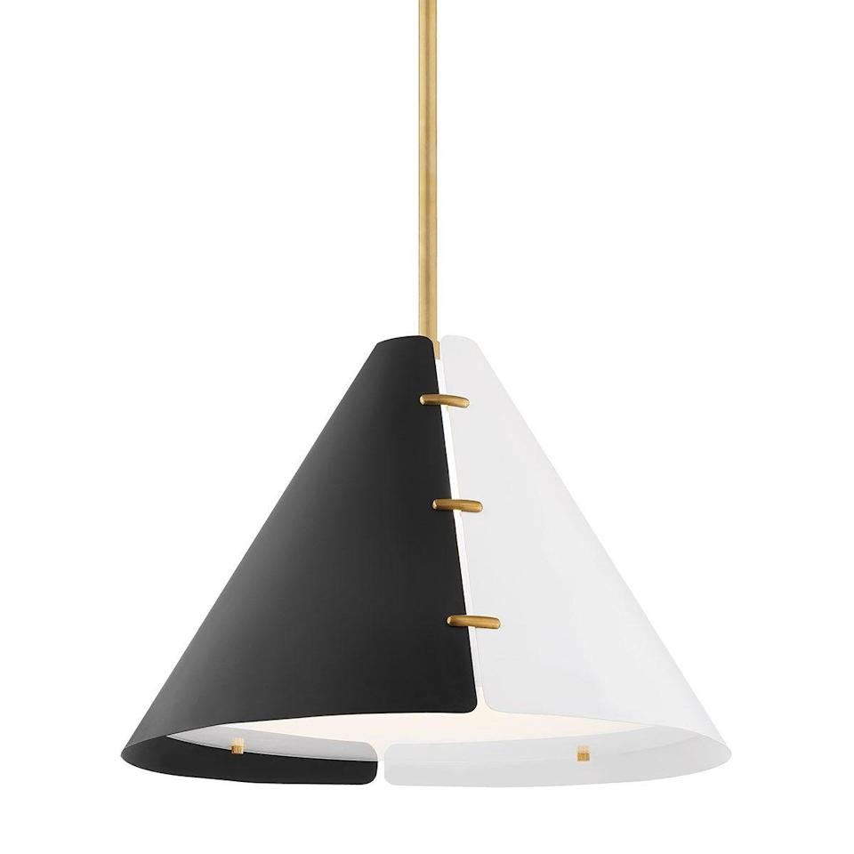 """<p><strong>Hudson Valley Lighting</strong></p><p>hvlgroup.com</p><p><a href=""""https://hudsonvalleylighting.hvlgroup.com/Product/KBS1352701L-AGB"""" rel=""""nofollow noopener"""" target=""""_blank"""" data-ylk=""""slk:Shop Now"""" class=""""link rapid-noclick-resp"""">Shop Now</a></p><p>Always a beloved graphic combo, black and white is having another moment in the home. <a href=""""http://www.kellybehun.com/"""" rel=""""nofollow noopener"""" target=""""_blank"""" data-ylk=""""slk:Kelly Behun"""" class=""""link rapid-noclick-resp"""">Kelly Behun</a>'s Split pendant for Hudson Valley Lighting hits all the right notes for this monochromatic look.</p>"""