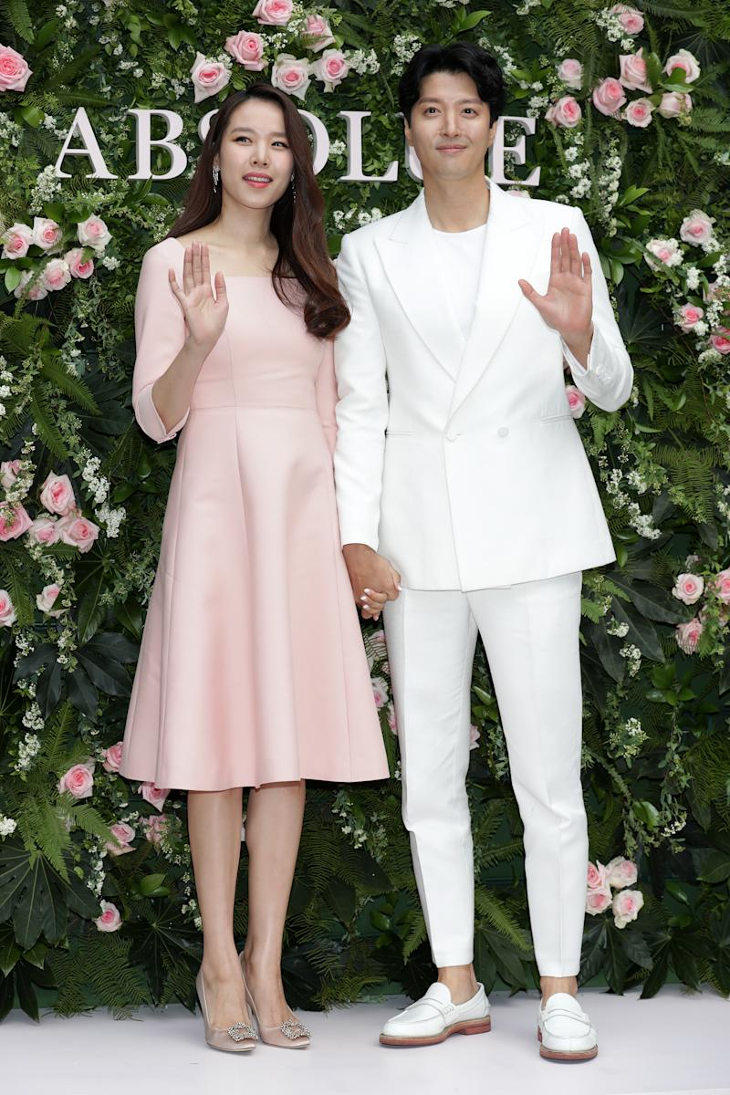 """SEOUL, SOUTH KOREA - FEBRUARY 20: South Korean actors Cho Youn-Hee aka Cho Yoon-Hee and Lee Dong-Gun attend the photocall for LANCOME """"Absolute"""" launch event on February 20, 2019 in Seoul, South Korea. (Photo by Han Myung-Gu/WireImage)"""