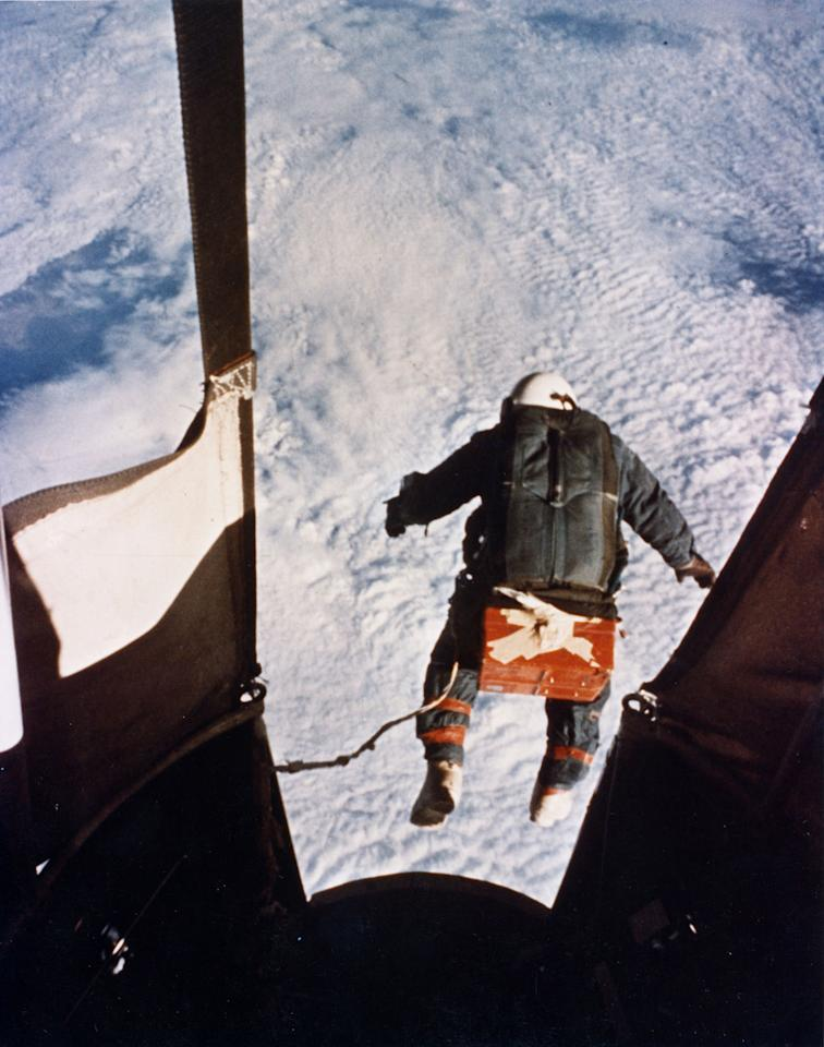 In this Aug. 16, 1960 photo made available by the U.S. Air Force, Col. Joe Kittinger steps off a balloon-supported gondola at an altitude of 102,800 feet. In freefall for 4.5 minutes at speeds up to 614 mph and temperatures as low as -94 degrees Fahrenheit, he opened his parachute at 18,000 feet. Skydiving daredevil Felix Baumgartner is more than halfway toward his goal of setting a world record for the highest jump. A spokeswoman says Baumgartner took a practice jump Thursday, March 15, 2012 from more than 13 miles high over New Mexico. He's aiming for nearly 23 miles in the summer. The record is held by Kittinger, a retired Air Force officer. He jumped from 19.5 miles in 1960. (AP Photo/U.S. Air Force)