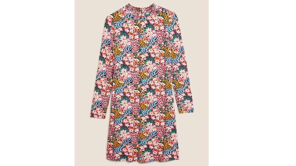 M&S Collection Jersey Floral High Neck Swing Dress