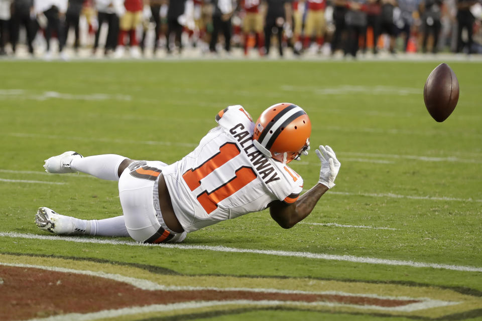 If Antonio Callaway caught this Baker Mayfield pass against the 49ers, perhaps we're having a different conversation. (AP)