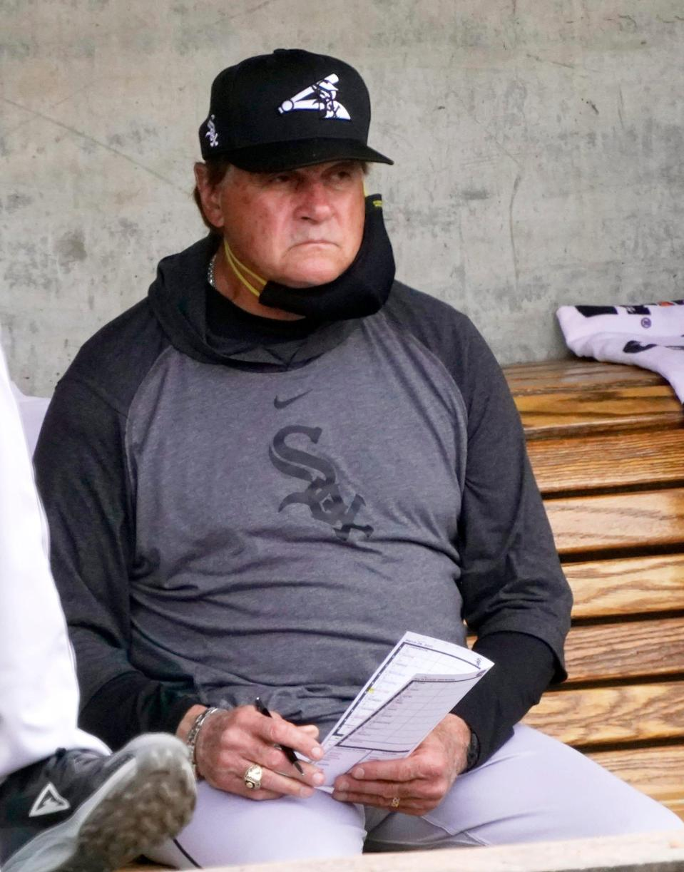 Chicago White Sox manager Tony LaRussa watches from the dugout during a spring training game against the Milwaukee Brewers at American Family Fields of Phoenix.