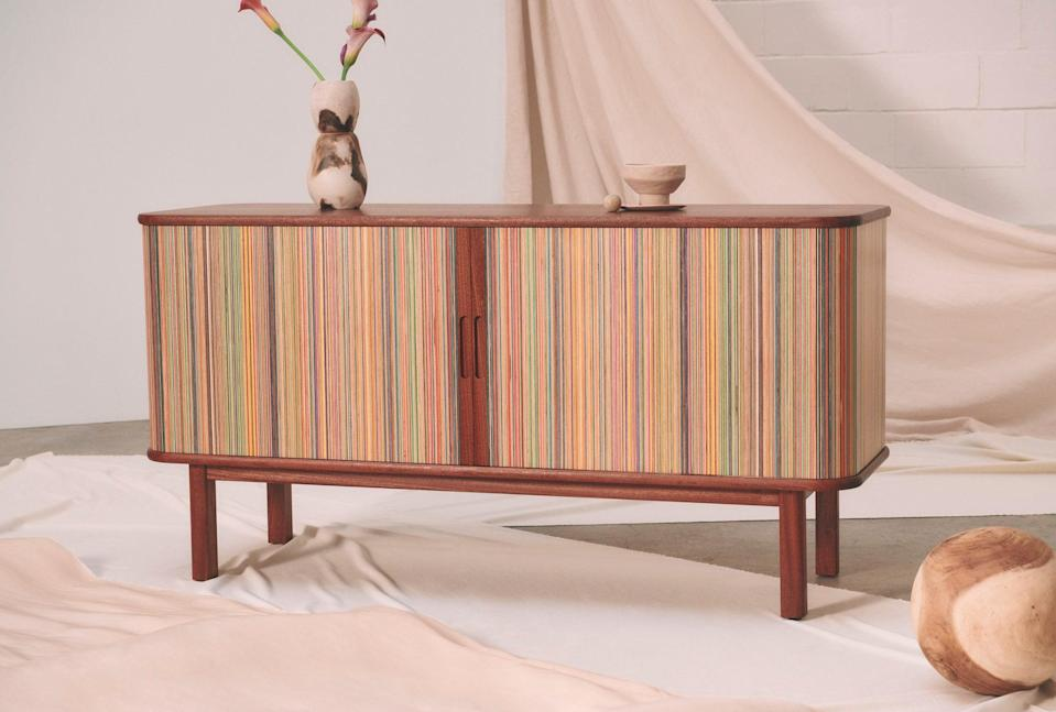 """<h3><a href=""""https://www.etsy.com/listing/805716608/stackton-credenzahttps://www.etsy.com/listing/805716608/stackton-credenza"""" rel=""""nofollow noopener"""" target=""""_blank"""" data-ylk=""""slk:Recycled Skateboard Credenza"""" class=""""link rapid-noclick-resp"""">Recycled Skateboard Credenza<br></a></h3><br><em>Grand Prize Winner</em><br> <br>Combining their carpentry skills and passion for skateboarding, Canadian brother-duo Adrian and Martinus Pool received a whopping $15,000 prize for bringing new life to broken skateboards in this unique, minimal-waste furniture design. <br><br>""""The Stackton credenza is so beautiful and at first glance, one would never know that it is actually made out of recycled skateboards… How cool is that?!"""" Barrymore said. """"The design is so sleek and I really appreciate the functionality of the sliding doors and adjustable shelves.""""<br><br><strong>Adrian Martinus</strong> Recycled Skateboard Credenza, $, available at <a href=""""https://go.skimresources.com/?id=30283X879131&url=https%3A%2F%2Fwww.etsy.com%2Flisting%2F805716608%2Fstackton-credenza"""" rel=""""nofollow noopener"""" target=""""_blank"""" data-ylk=""""slk:Etsy"""" class=""""link rapid-noclick-resp"""">Etsy</a>"""