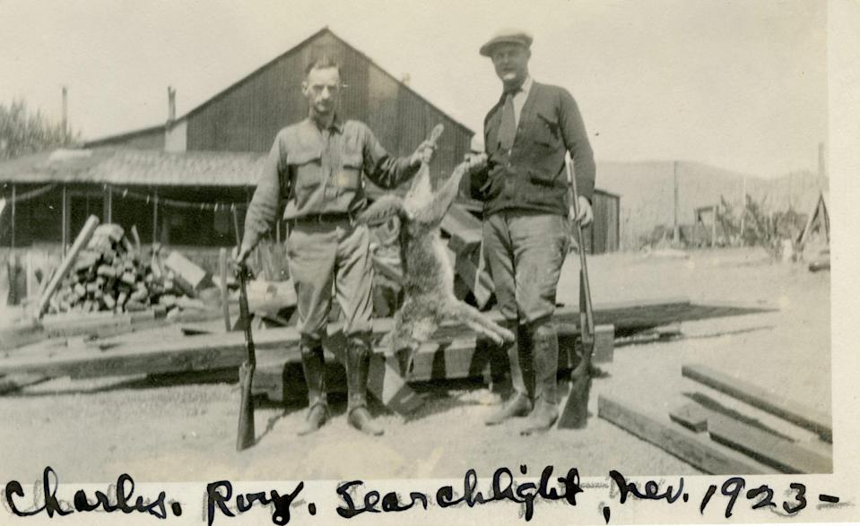 This Nevada Historical Society archived photo depicts two men, Charles and Roy holding a dead coyote near Searchlight, Nev. in 1923, after the rabies epidemic had subsided.