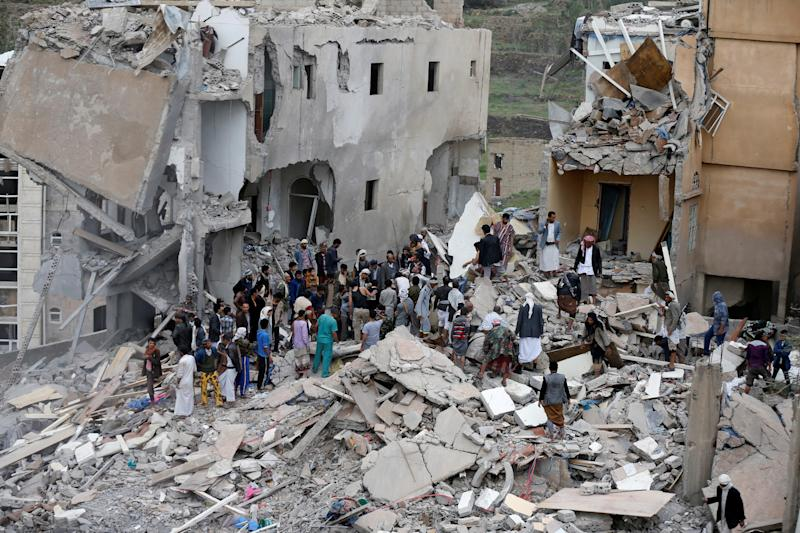 The remains of a house targeted by a Saudi-UAE coalition airstrike. (Khaled Abdullah / Reuters)