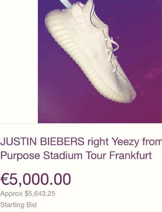 The lucky fan is selling the right shoe he caught at Justin Bieber concert in Germany for 5000 euros. Source: Instagram